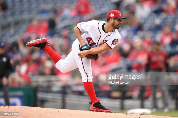Gio Gonzalez of the Washington Nationals pitches in the first inning during a baseball game against the Arizona Diamondbacks at Nationals Park on...