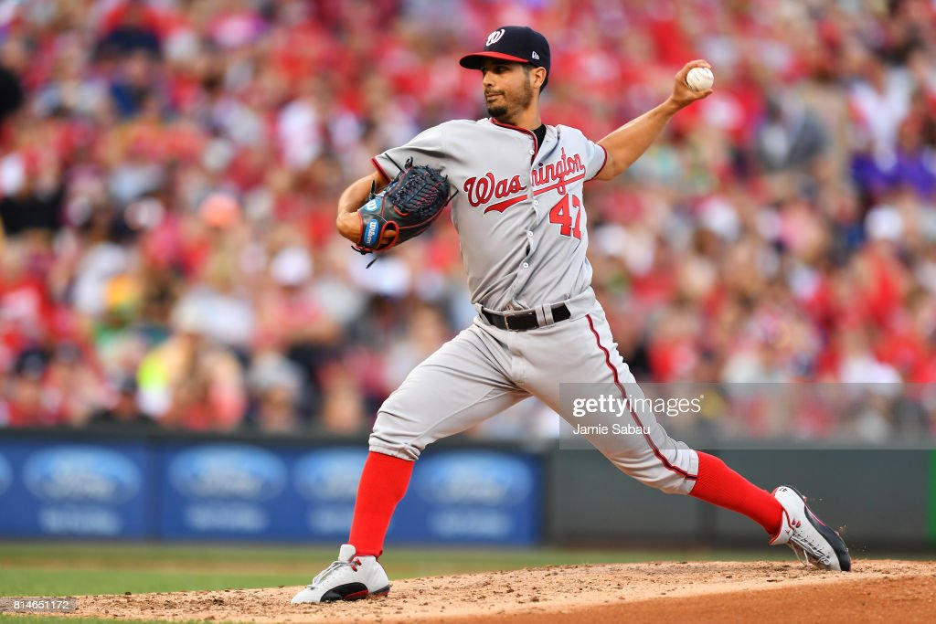 Gio Gonzalez #47 of the Washington Nationals pitches in the fourth inning against the Cincinnati Reds at Great American Ball Park on July 14, 2017 in Cincinnati, Ohio. Washington shut out Cincinnati 5-0.