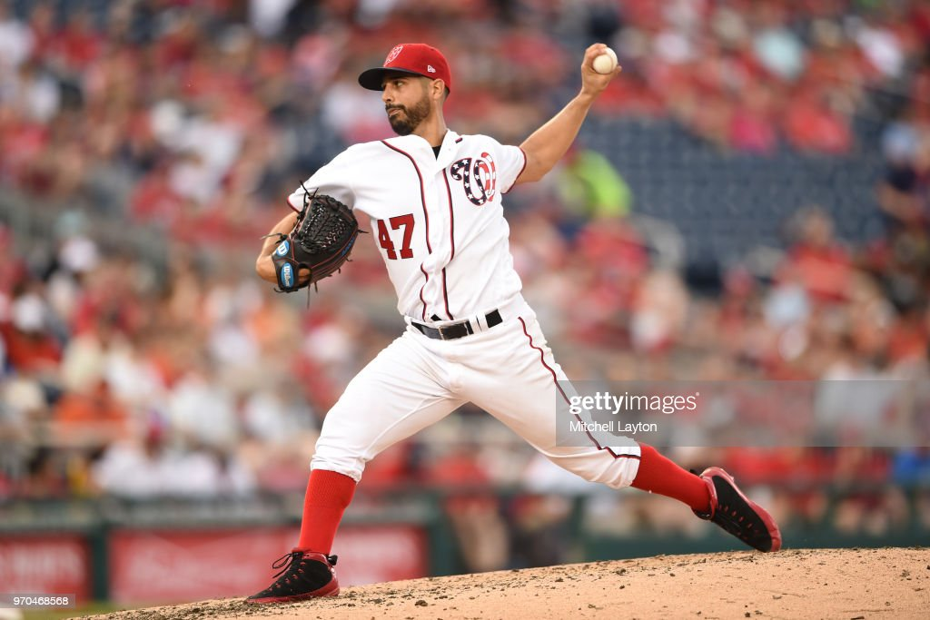 Gio Gonzalez #47 of the Washington Nationals pitches in the fourth inning during a baseball game against the San Francisco Giants at Nationals Park on June 9, 2018 in Washington, DC.