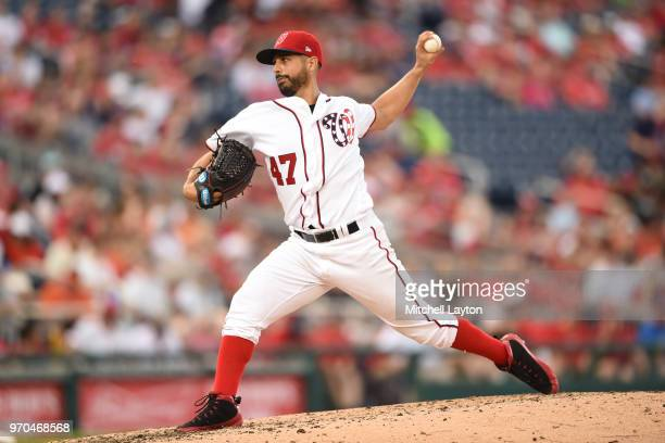 Gio Gonzalez of the Washington Nationals pitches in the fourth inning during a baseball game against the San Francisco Giants at Nationals Park on...