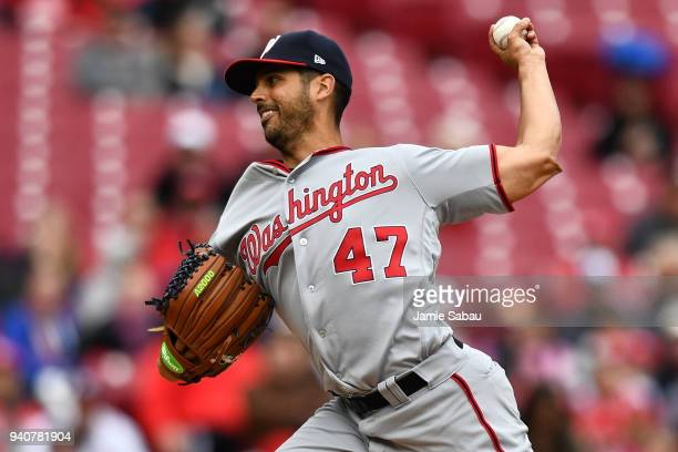 Gio Gonzalez of the Washington Nationals pitches in the second inning against the Cincinnati Reds at Great American Ball Park on April 1 2018 in...