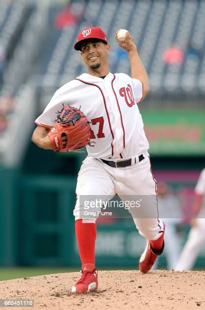 Gio Gonzalez of the Washington Nationals pitches in the third inning against the Miami Marlins at Nationals Park on April 6 2017 in Washington DC