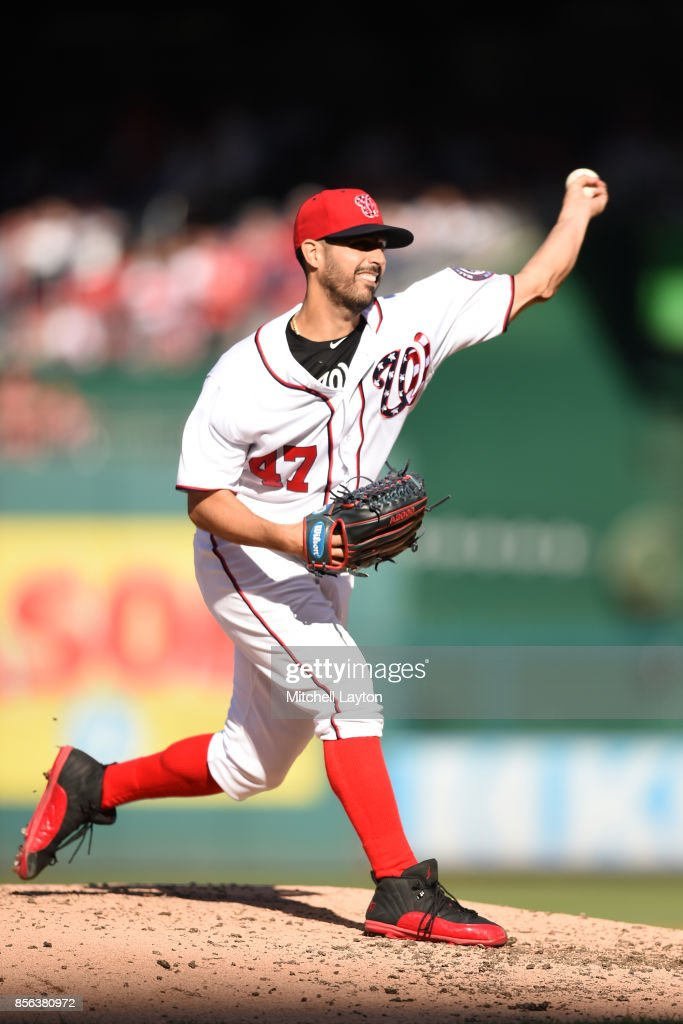 Gio Gonzalez #47 of the Washington Nationals pitches in the third inning during a baseball game against the Pittsburgh Pirates at Nationals Park on October 1, 2017 in Washington, DC.