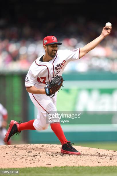 Gio Gonzalez of the Washington Nationals pitches in the third inning during a baseball game against the Arizona Diamondbacks at Nationals Park on...