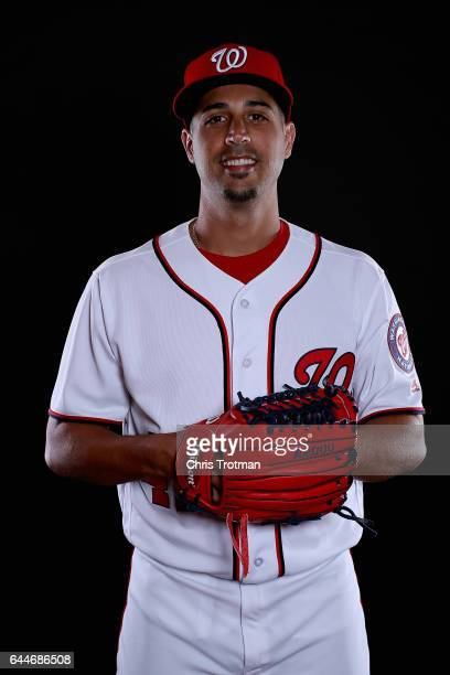 Gio Gonzalez of the Washington Nationals poses for a portrait during Washington Nationals Photo Day at The Ballpark of the Palm Beaches on February...