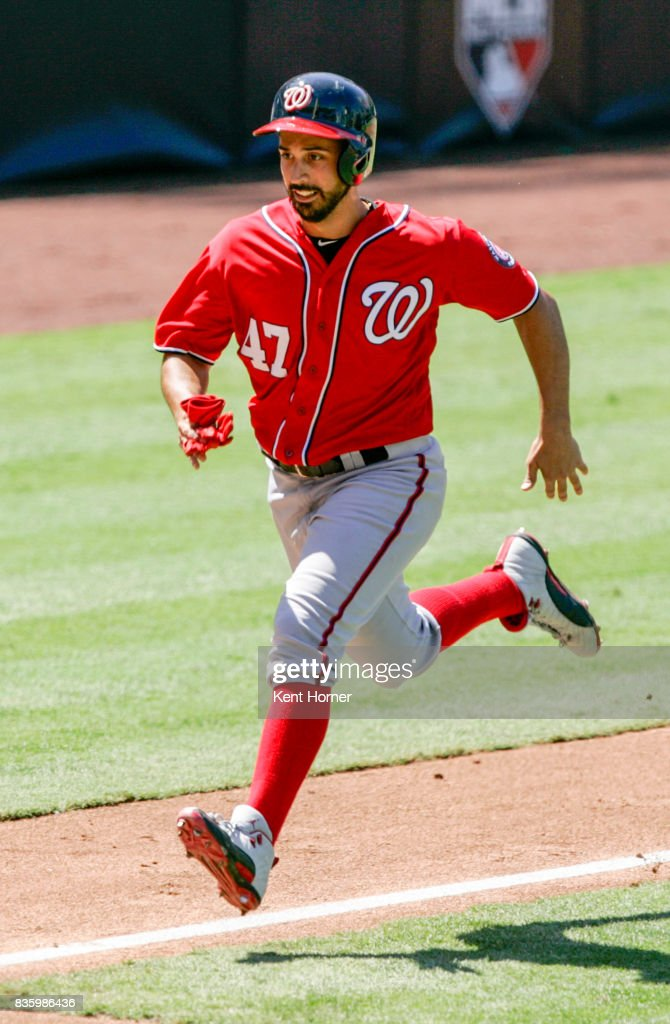 Gio Gonzalez #47 of the Washington Nationals scores a run during the third inning against the San Diego Padres at PETCO Park on August 20, 2017 in San Diego, California.