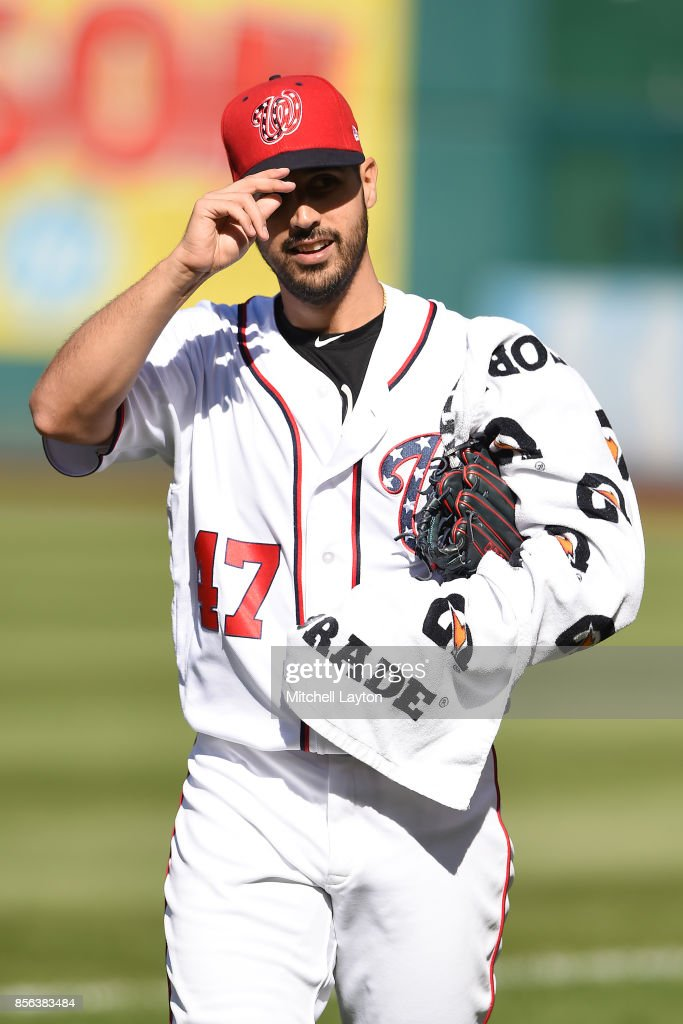 Gio Gonzalez #47 of the Washington Nationals walks to the dug out before a baseball game against the Pittsburgh Pirates at Nationals Park on October 1, 2017 in Washington, DC.