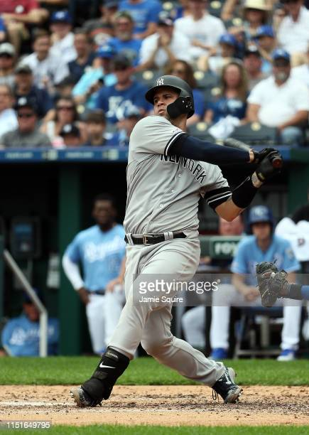 Gio Urshela of the New York Yankees bats during the game against the Kansas City Royals at Kauffman Stadium on May 25 2019 in Kansas City Missouri