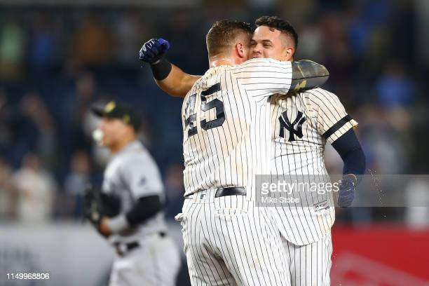 Gio Urshela of the New York Yankees celebrates his walkoff game winning RBI single in the bottom of the ninth inning against the Tampa Bay Rays at...