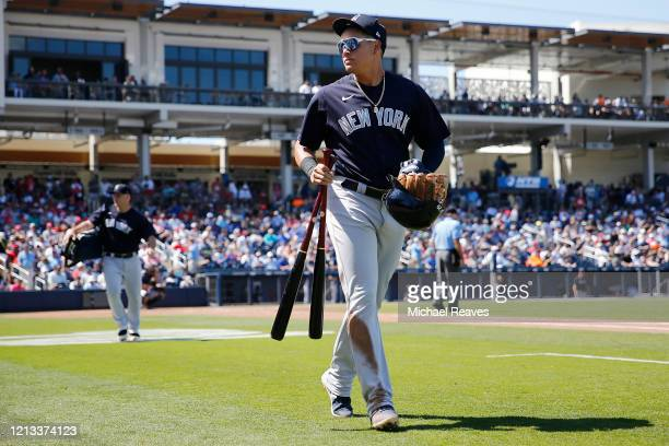 Gio Urshela of the New York Yankees heads to the clubhouse against the Washington Nationals at the end of the fifth inning of a Grapefruit League...