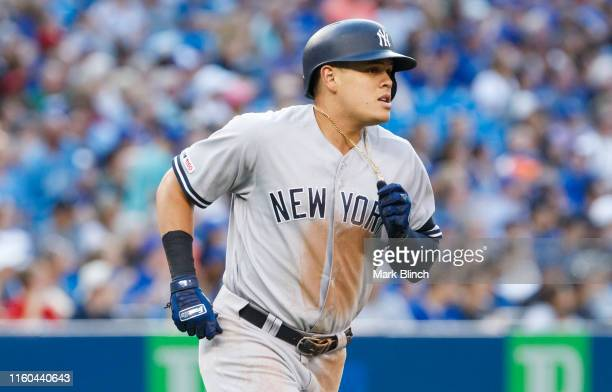Gio Urshela of the New York Yankees rounds the bases on his second home run of the game against the Toronto Blue Jays in the third inning at the...