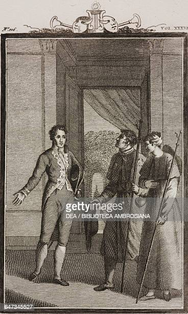 Giocondo with Gianfranco and Lisaura engraving by Antonio Viviani from a drawing by G Steneri from The Merry Gentleman Act III Scene 3 Comedies...
