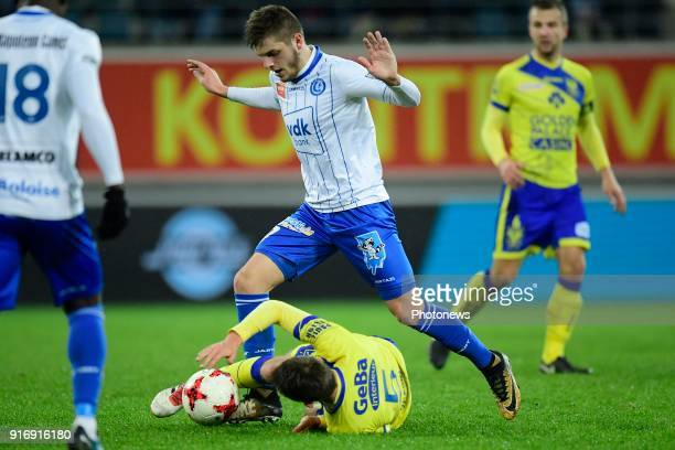 Giogri Chakvetadze midfielder of KAA Gent in action with Alexis De Sart midfielder of STVV during the Jupiler Pro League match between KAA Gent and...
