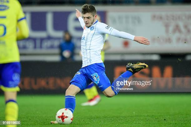 Giogri Chakvetadze midfielder of KAA Gent shoots the ball during the Jupiler Pro League match between KAA Gent and Sint Truidense VV at the Ghelamco...
