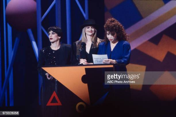 Gioia Bruno Ann Curless Jeanette Jurado of Exposé presenting on the 17th Annual American Music Awards Shrine Auditorium January 22 1990