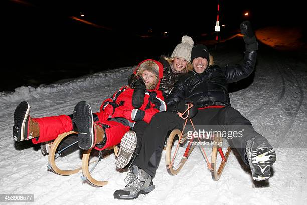 Gioia Filomena Burkhard, Anika Bormann, Gedeon Burkhard attend the Snowshoe Hiking And Slide Tour - Tirol Cross Mountain 2013 on December 05, 2013 in...