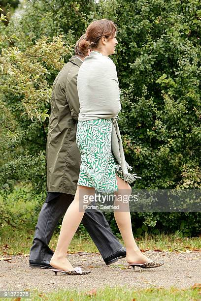 Gioia von Thun and guest arrive for the church wedding of Barbara Schoeneberger and Maximilian von Schierstaedt at the church of Rambow on October 3...