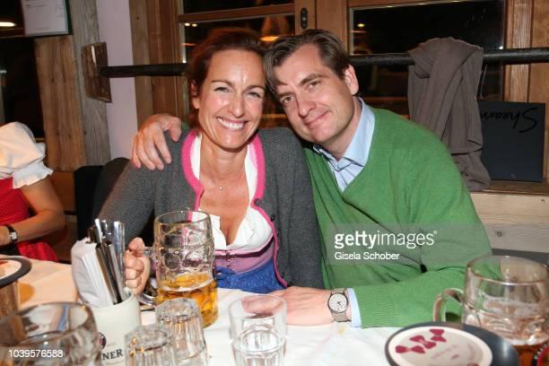 Gioia von Thun and her husband during the Oktoberfest 2018 Angermaier Wiesn at Kaeferschaenke at Theresienwiese on September 24, 2018 in Munich,...