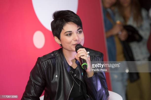 Giordana Angi, finalist of Amici 2019, interviewed for an event in collaboration with Freeda and Coca-Cola in Milan.