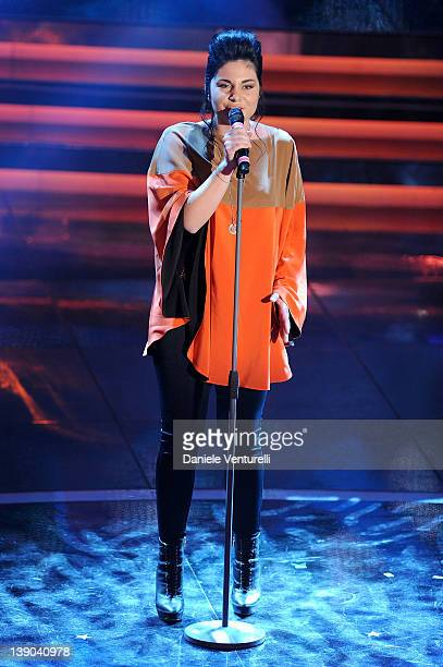 Giordana Angi performs on stage at the second day of the 62th Sanremo Song Festival at the Ariston Theatre on February 15, 2012 in San Remo, Italy.