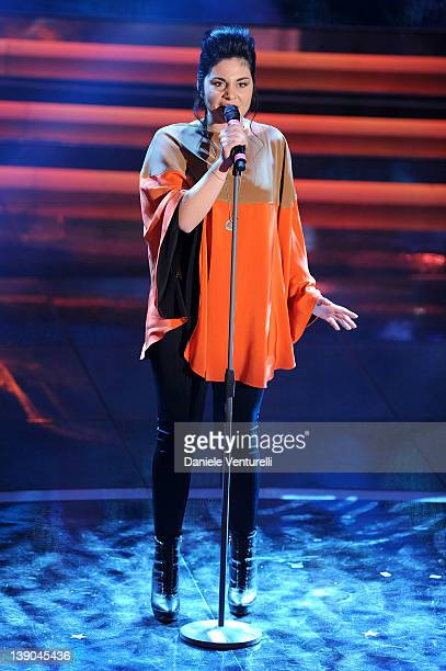Giordana Angi performs on stage at the second day of the 62th Sanremo Song Festival at the Ariston Theatre on February 15 2012 in San Remo Italy