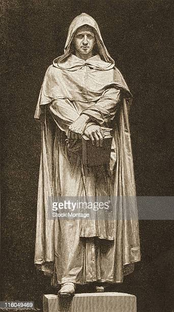 Giordano Bruno an Italian philosopher astronomer and mathematician is depicted in an illustration of a statue located in Rome Italy late nineteenth...