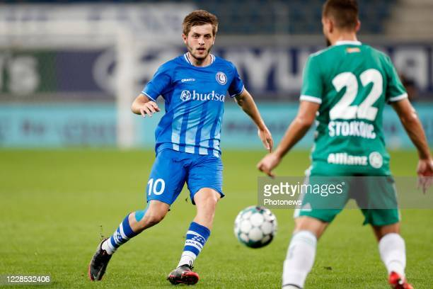 Giorgi Chakvetadze midfielder of KAA Gent during the UEFA Champions League third qualifying round match between KAA Gent and SK Rapid Wien on...