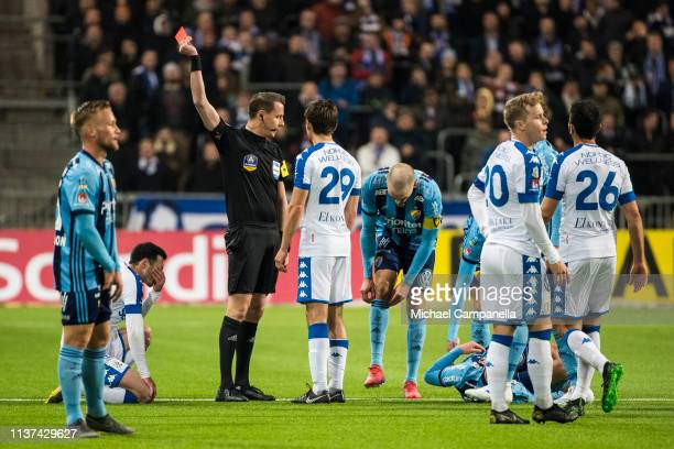 Giorgi Kharaishvili of IFK Goteborg is shown a red card by referee Andreas Ekberg during the Allsvenskan match between Djurgardens IF and IFK...