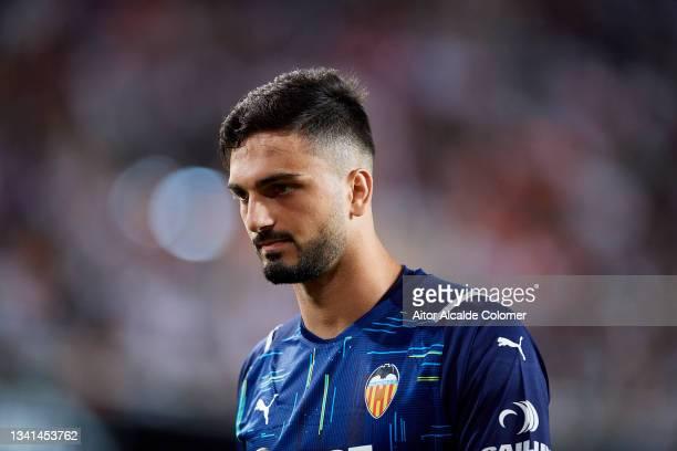 Giorgi Mamardashvili of Valencia looks on during the La Liga Santander match between Valencia CF and Real Madrid CF at Estadio Mestalla on September...