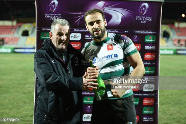 Giorgi Pruidze of Krasny Yar is the Heineken Man of the Match during the European Rugby Challenge Cup match between Krasny Yar and London Irish at...