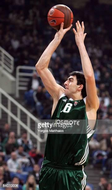 Giorgi Shermadini, #16 of Panathinaikos in action during the Euroleague Basketball Game 8 match between Panathinaikos Athens and Sluc Nancy Basket on...