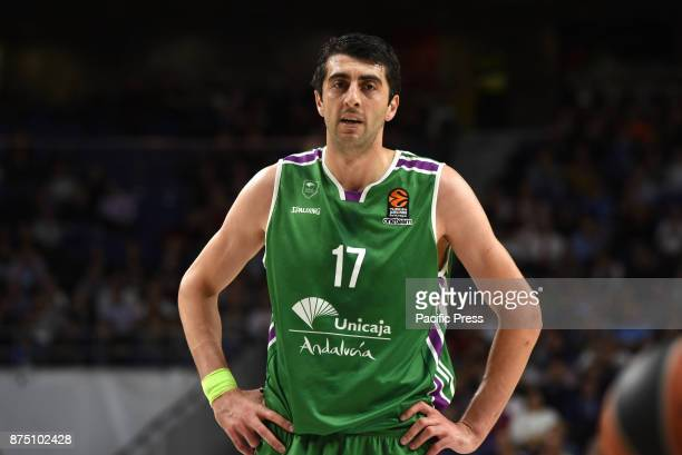 Giorgi Shermadini #17 of Unicaja pictured during the Euroleague basketball match between Real Madrid and Unicaja Málaga played at WiZink center in...