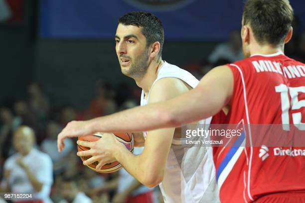 Giorgi Shermadini of Georgia drives the ball during the FIBA Basketball World Cup Qualifier match between Georgia and Serbia at Tbilisi Sports Palace...