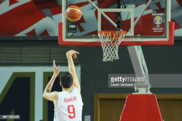 Giorgi Shermadini of Georgia throws the ball during the FIBA Basketball World Cup Qualifier match between Georgia and Serbia at Tbilisi Sports Palace...