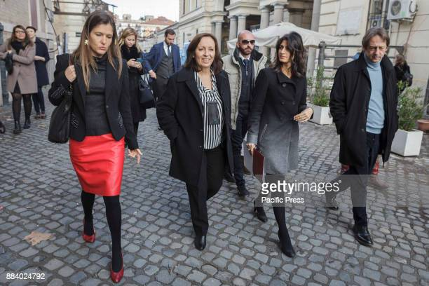 Giorgia Abeltino Head of Institutional Relations of Google Flavia Marzano Virginia Raggi Mayor of Rome and Luca Bergamo Deputy Mayor of Rome arrive...