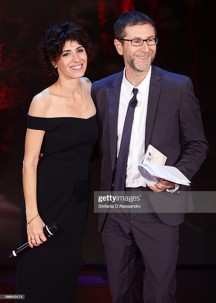 Giorgia and Fabio Fazio attend 'Che Fa' TV Show on November 2, 2013 in Milan, Italy.