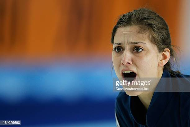 Giorgia Apollonio of Italy shouts instructions after she throws her stone in the match between Japan and Italy on Day 4 of the Titlis Glacier...