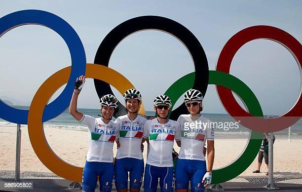 Giorgia Bronzini, Elena Cecchini, Tatiana Guderzo and Elisa Longo Borghini of the Italian women's road cycling team, pose before the race August 7,...