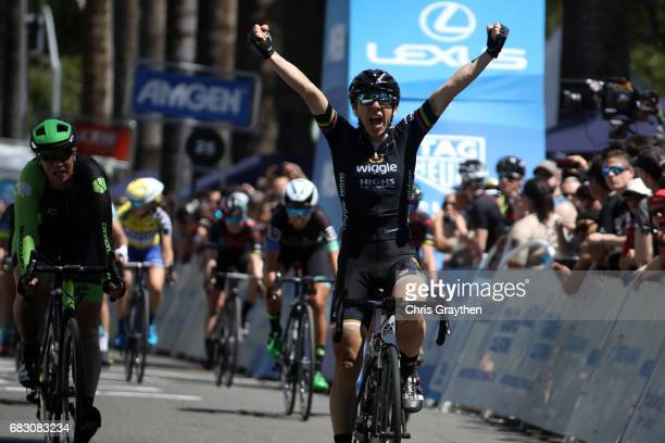 Giorgia Bronzini of Italy riding for team Wiggle High5 celebrates after winning the final stage of the Amgen Breakaway From Heart Disease Women's...