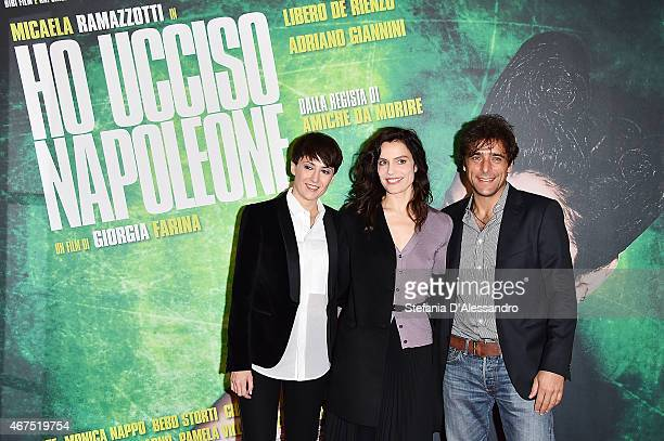 Giorgia Farina Micaela Ramazzotti and Adriano Giannini attend 'Ho Ucciso Napoleone' Screening In Milan on March 25 2015 in Milan Italy