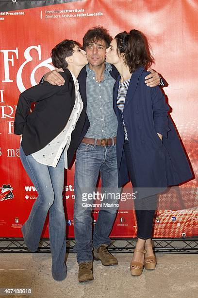 Giorgia Farina Micaela Ramazzotti and Adriano Giannini attend the 'Ho Ucciso Napoleone' press conference during Bifest 2015 on March 25 2015 in Bari...