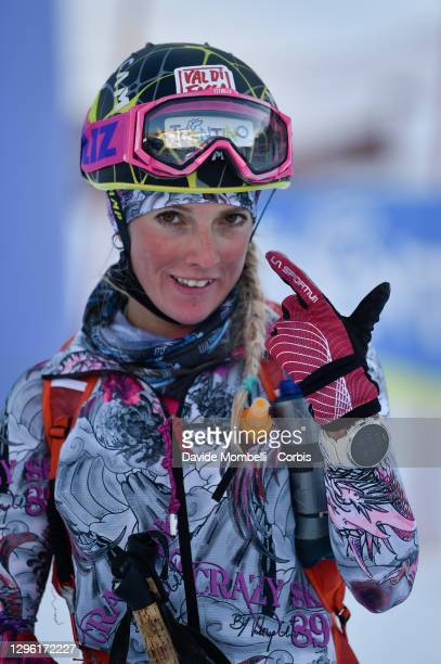 Giorgia Felicetti comes celebrates coming second during the Italian Youth Ski Mountaineering Championships on January 10, 2021 in Vermiglio