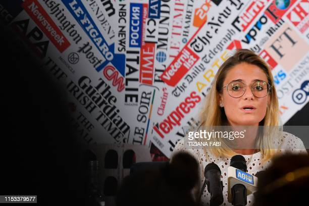 Giorgia Linardi legal adviser in Italy for German hunmanitarian NGO SeaWatch speaks during a joint press conference of humanitarian NGOs Sea Watch...