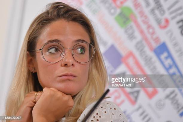 Giorgia Linardi legal adviser in Italy for German hunmanitarian NGO SeaWatch attends a joint press conference of humanitarian NGOs Sea Watch Doctors...
