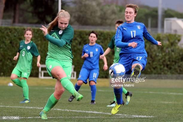 Giorgia Marchiori of Italy U16 women in action against Kaja Pecovnik of Slovenia U16 women during the U16 Women friendly match between Italy U16 and...