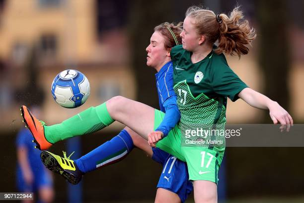 Giorgia Marchiori of Italy U16 women in action against Neja Kovacec of Slovenia U16 women during the U16 Women friendly match between Italy U16 and...