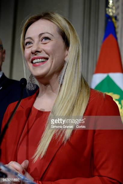 Giorgia Meloni at the end of the Consultations of the President of the Republic for the formation of the new Government on April 4 2018 in Rome Italy