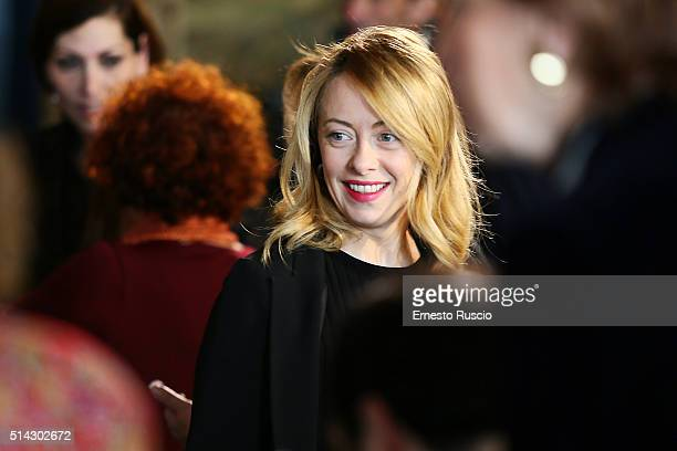 Giorgia Meloni attends the celebrations for International Women's Day at Palazzo del Quirinale on March 8 2016 in Rome Italy