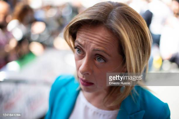 Giorgia Meloni attends the demonstration organized by Lega Fratelli d'Italia and Forza Italia against the Italian Government on June 02 2020 in Rome...