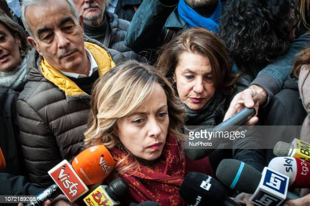 Giorgia Meloni Fratelli d'Italia Leader speaks during the demonstration against the electronic invoicing on December 12 2018 in Rome Italy Giorgia...